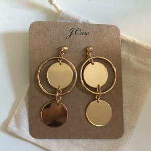 NWT JCrew Double Disc Drop Earrings
